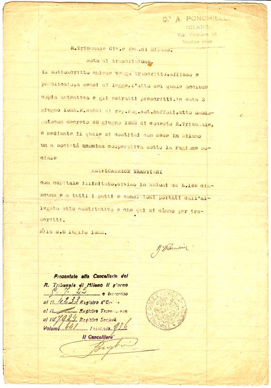 Atto Costitutivo - 1929