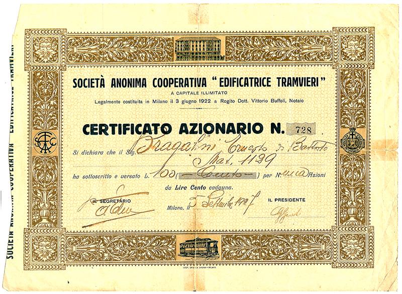 Certificato Azionario - 1927