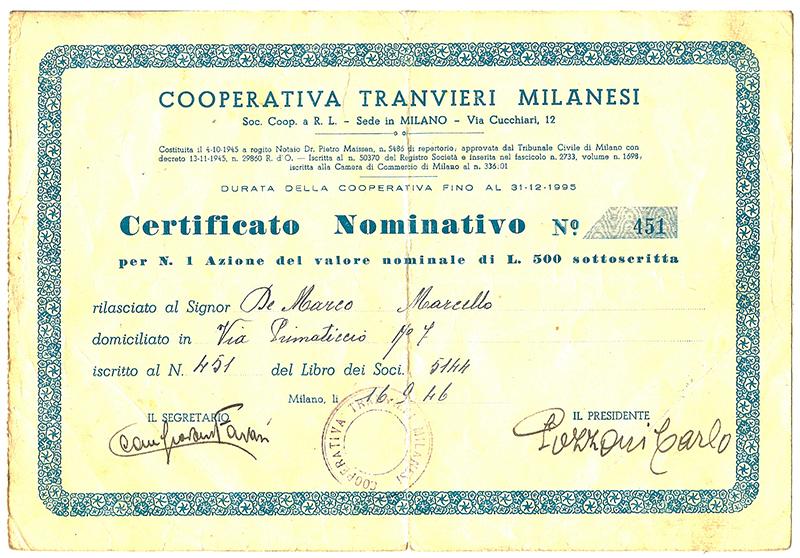 Certificato Azionario - 1946