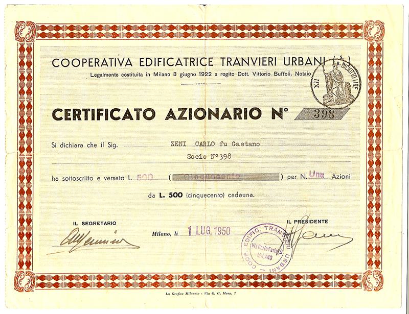 Certificato Azionario - 1950