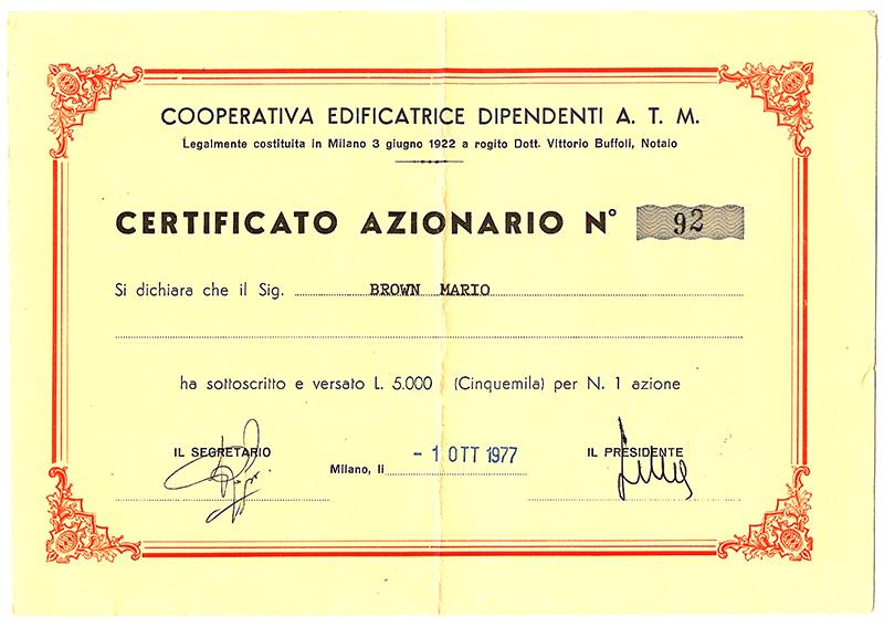 Certificato Azionario - 1977