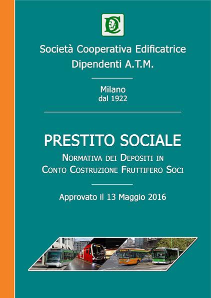 Copertina Normativa del Prestito Sociale del 2016
